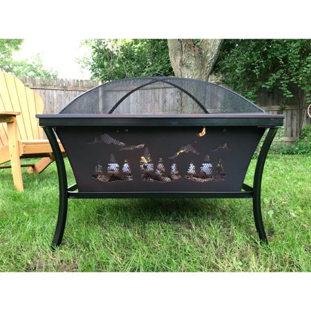 Pomegranate Solutions Woodland 30 in. Fire Pit with Spark Screen - Pomegranate Solutions Woodland 30 In. Fire Pit With Spark Screen