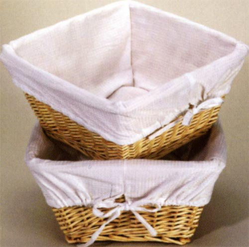 Basket with White Waffle Liner and 4 Ribbons-Finish:Natural