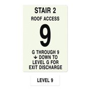 INTERSIGN NFPA-PVC1812(2GA9) NFPASgn,StairId2,Floors Served 1 to 9 G0264839