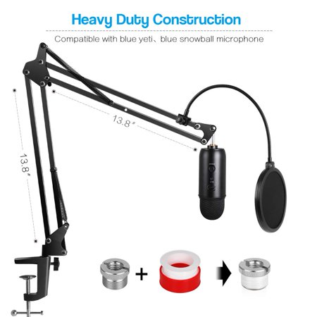 Freedo Heavy Duty Microphone Stand with Mic Microphone Windscreen and Dual Layered Mic Pop Filter Suspension Boom Scissor Arm Stands, Works Well with Various Other Microphones - image 7 de 8