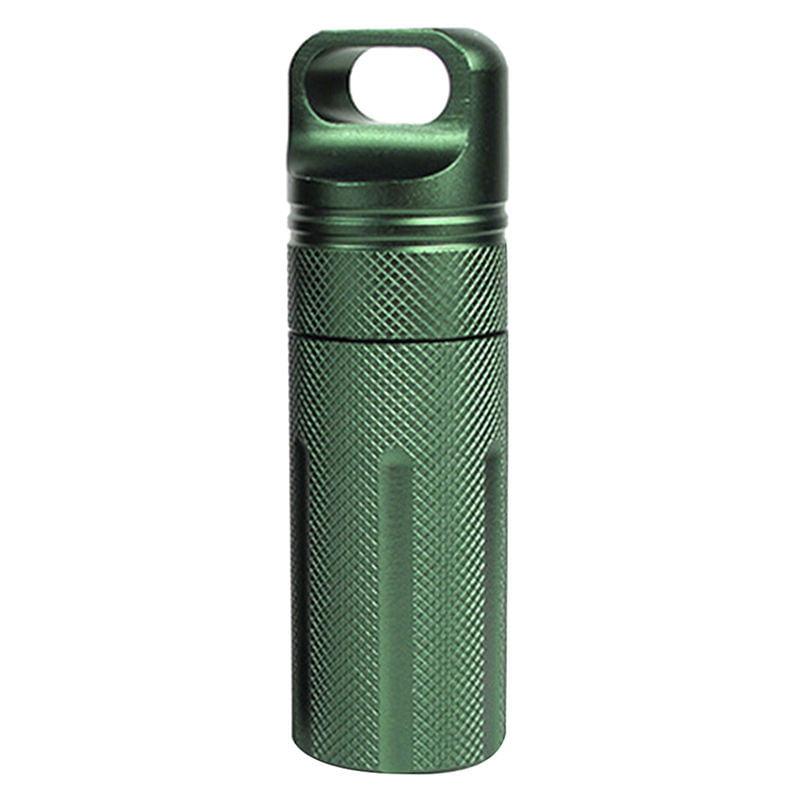 Large Aluminum Pill Box Case Bottle Holder Outdoor Container Keyring BK