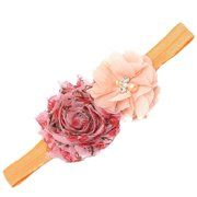 Girls Coral Stretchy Glittery Flower Embellished Hairband Hair Accessory