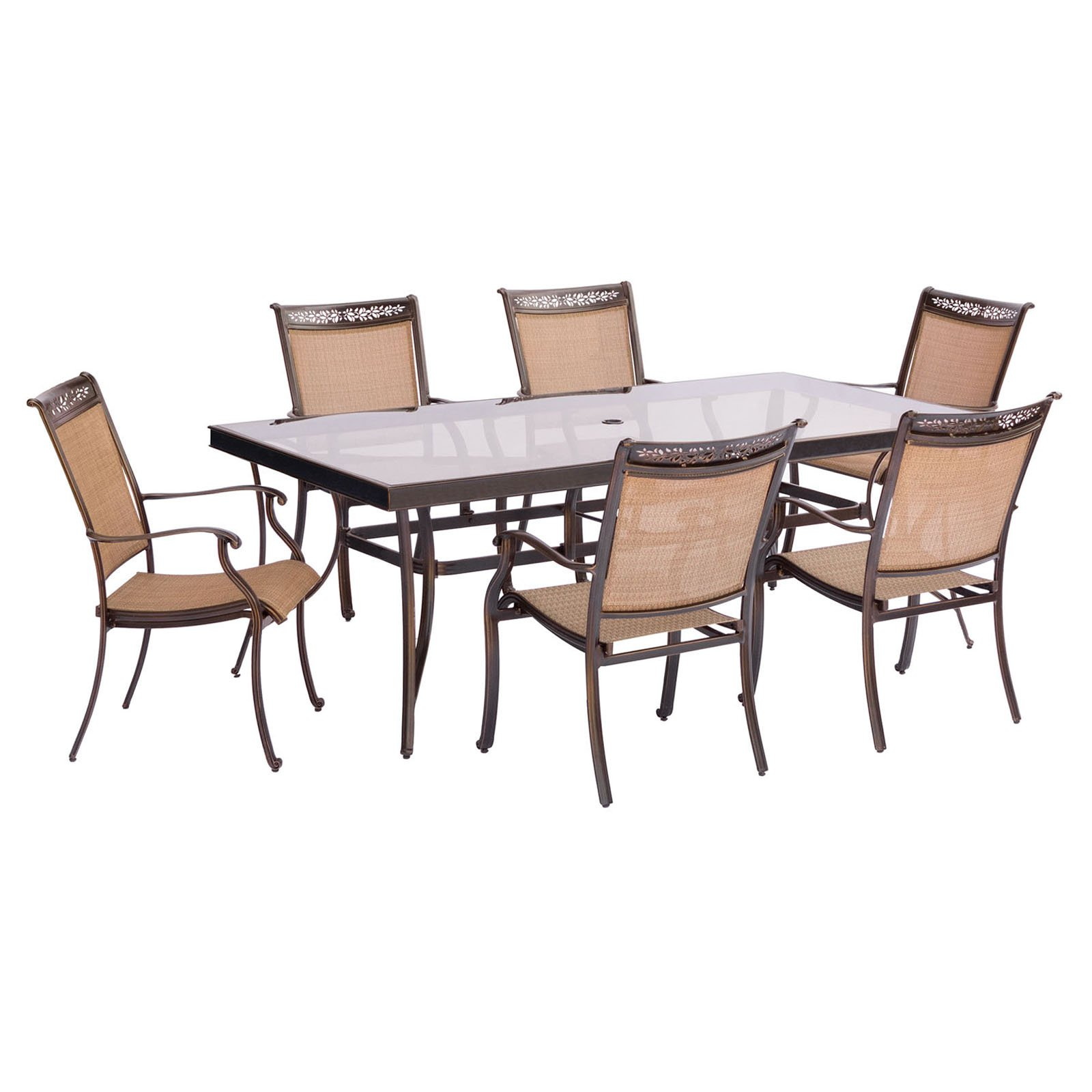 Hanover Fontana 7-Piece Outdoor Dining Set with Glass-Top Table