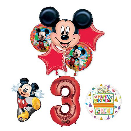 The Ultimate Mickey Mouse 3rd Birthday Party Supplies and Balloon Decorations (Mickey Mouse Shaped Balloons)