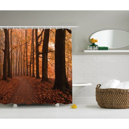 Canopy Decor Fall Season Hiking Walkway Enchanted Forest Bathroom Accessories 69w X 70l Inches By Ambesonne