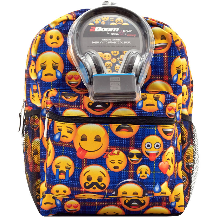 "17"" Plaid Emoji Little Kids Backpack With Bonus Headphones For School College Travel Teens"