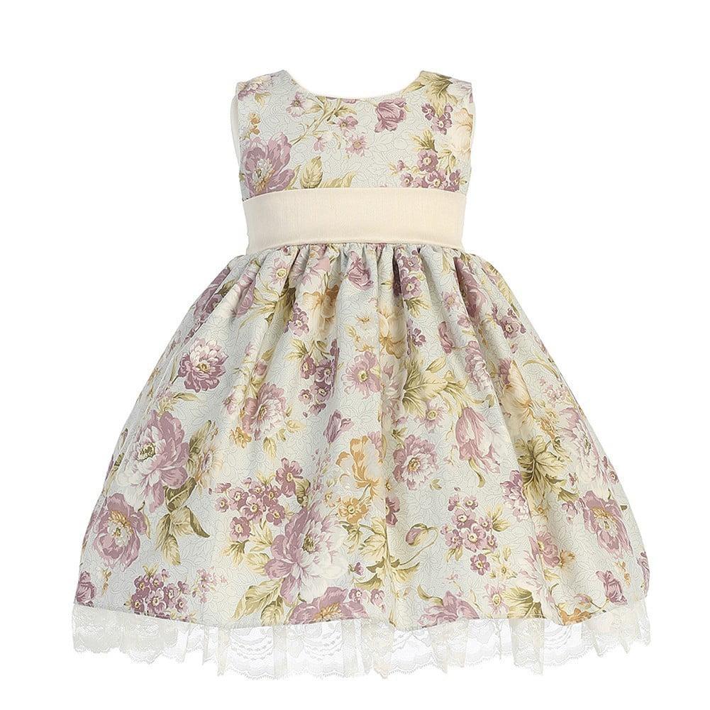 LITO Ivory Plum Floral Sleeveless Easter Flower Girl Dres...