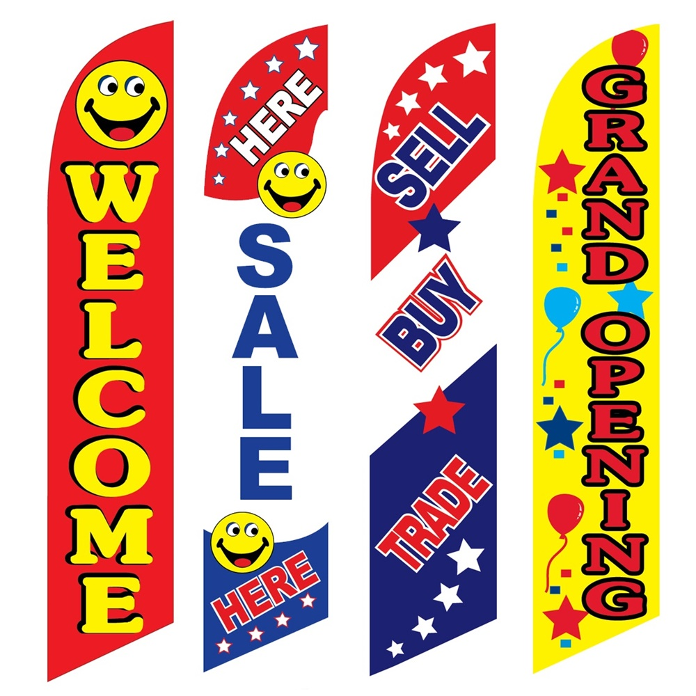 4 Advertising Swooper Flags Welcome Sale Here Sell Buy Trade Grand Opening