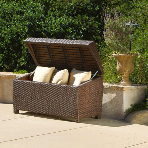 Newport Outdoor Wicker Storage Chest by GDF Studio