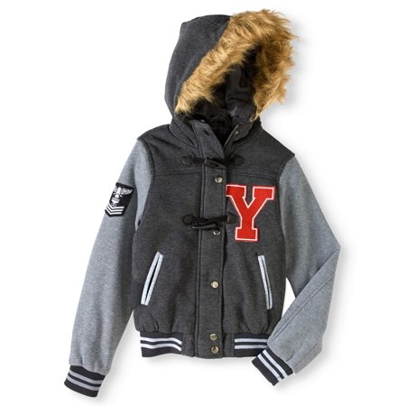 Girls' Toggle Front Varsity Jacket With Fur Lined Hood