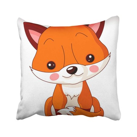 ARTJIA Animal Fun Zoo Of Cute Fox Cartoon Baby Cub Stuffed Toy Character Cheerful Pillowcase Pillow Cover 18x18 inches](Baby Anime Characters)