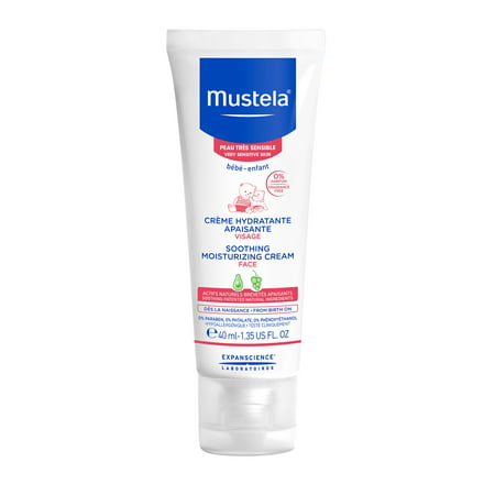 Mustela Baby Soothing Moisturizing Face Cream, for Very Sensitive Skin, Fragrance-Free, 1.35 (Best Baby Soothing Products)