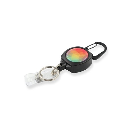 Rel Amigo Retractable I.D. Badge Reel & Key Holder - Style (Large Rainbow Crystals)