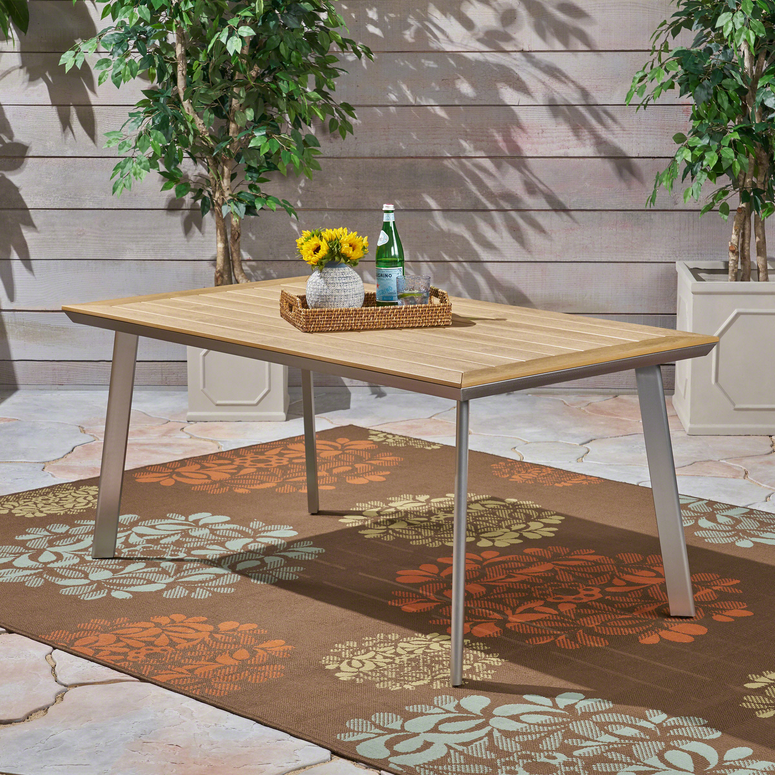 Franklin Outdoor Aluminum And Faux Wood Dining Table