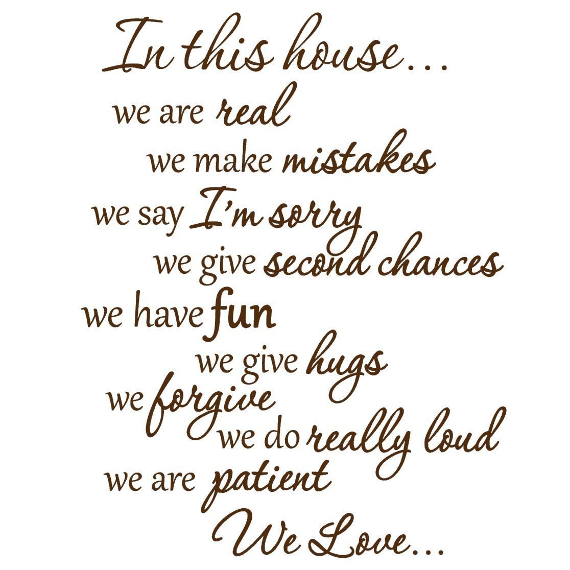VWAQ In This House We Do Wall Decals Family Rules Quotes Sayings VWAQ (Brown)