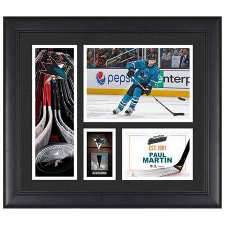 Paul Martin San Jose Sharks Framed 15   X 17   Player Collage With A Piece Of Game Used Puck   No Size