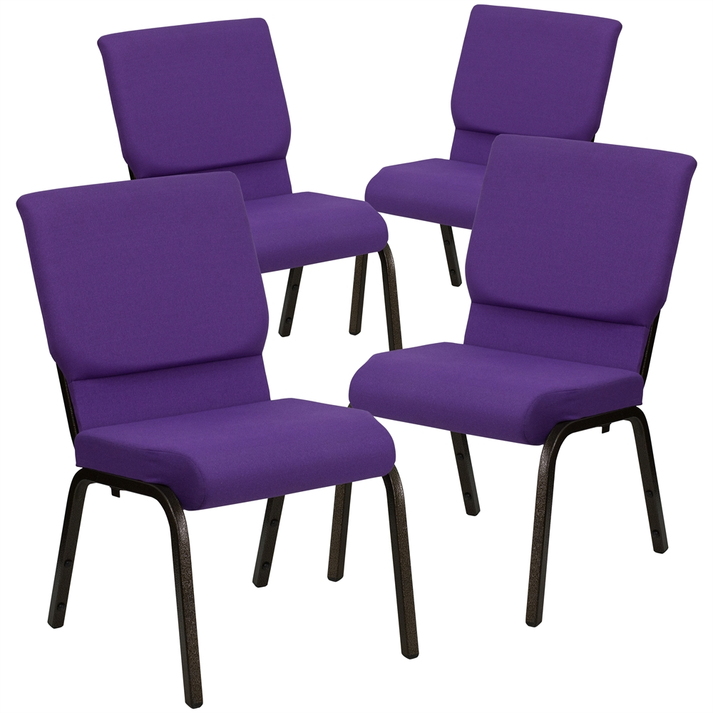 4 Pk. HERCULES Series 18.5''W Purple Fabric Stacking Church Chair with 4.25'' Thick Seat - Gold Vein Frame