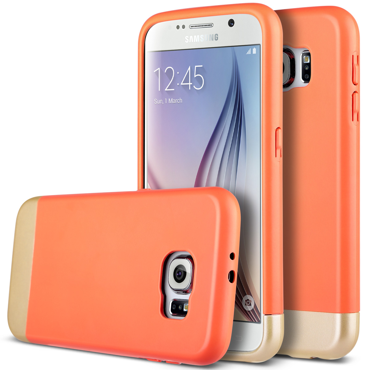 ULAK Galaxy S6 Slim Case, Hybrid Slider Style Hard Protective Case for Samsung Galaxy S6 Vibrant Trendy Color Cover Soft TPU Interior (Orange+Gold)
