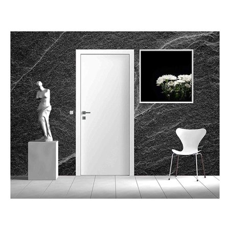 Water Wall Natural Grey Slate - wall26 - Dark grey black slate background or abstract natural stone texture - Removable Wall Mural | Self-adhesive Large Wallpaper - 66x96 inches