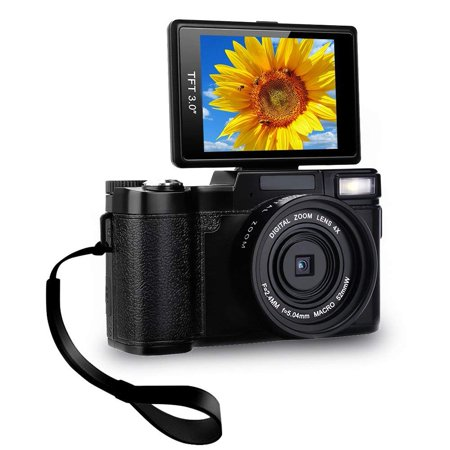 Digital Camera Camcorder Full HD Video Camera 1080p 24.0MP Vlogging Camera Flip Screen 180 Degree Rotation Wit