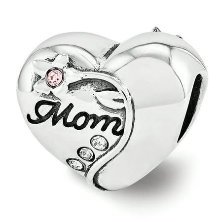 Swarovski Elements Vining Flower Mom Heart Charm in Sterling Silver Crystal Flower Slide Charm