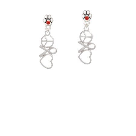Peace Sign Ribbon Heart - Red Crystal Paw Earrings