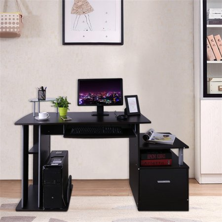 (Computer PC Table Home Study Office Table Work Desk Workstation Corner Desk Furniture With Keyboard Tray And Drawer DX-202)