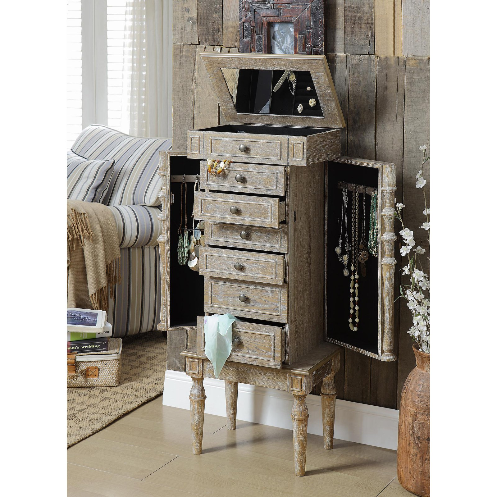 ACME Taline Jewelry Armoire, Weathered Oak