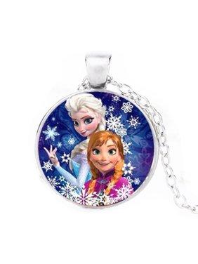 Elsa and Anna Frozen Silvertone Anti-Tarnish Necklace Pendant Jewelry-223