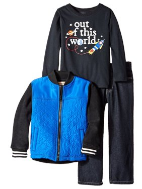 Kids Headquarters Infant Boys 3 Piece Black Space Ship Shirt Pants & Jacket