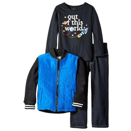 Kids Headquarters Infant Boys 3 Piece Black Space Ship Shirt Pants & Jacket Blue Infant Two Piece