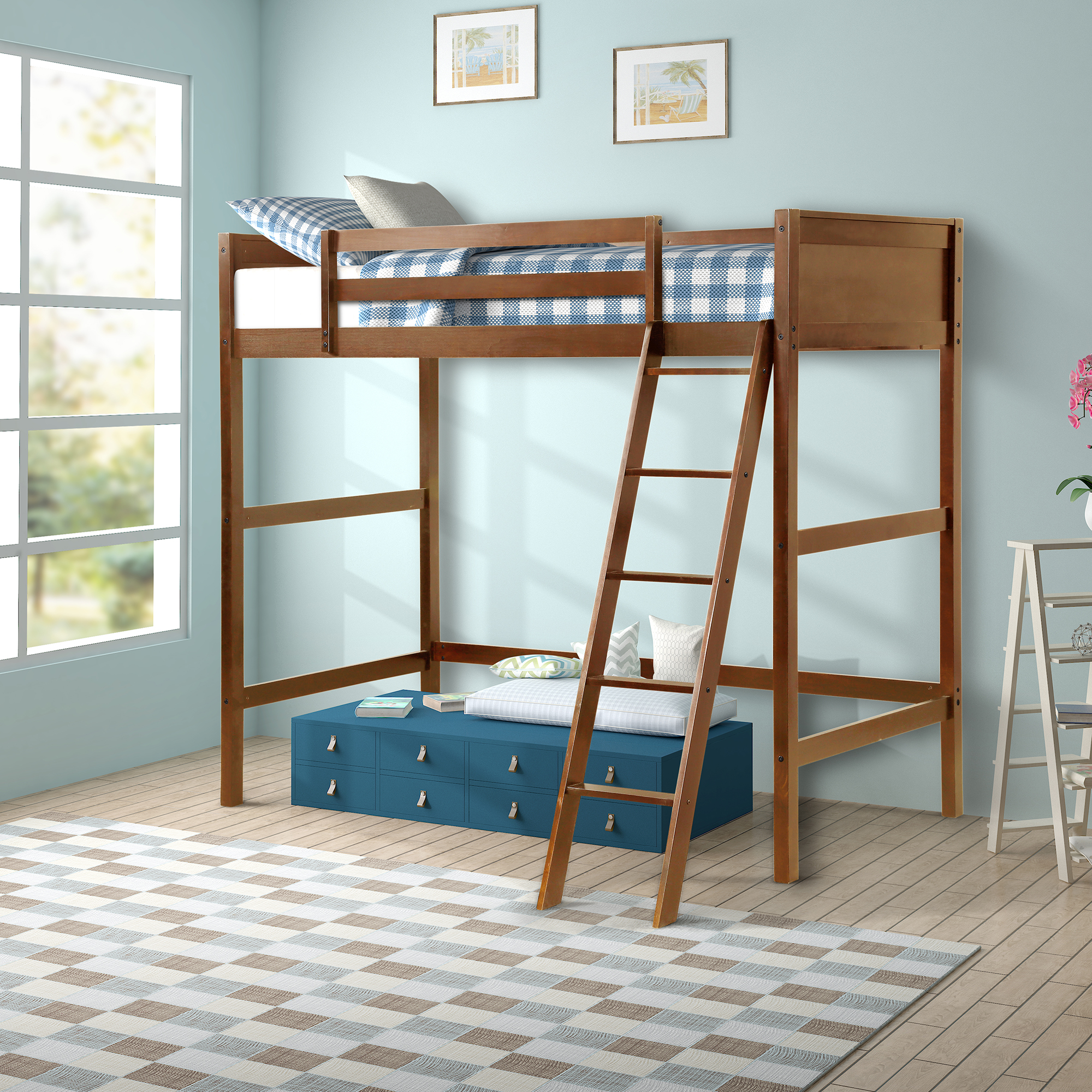 Harper&Bright Designs Wood Twin Loft Bed with a 5-Story Ladder, Walnut