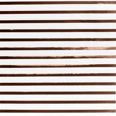 Andaz Press Rose Gold Foil Lunch Napkins 6.5-Inch, Striped, 50-Pack, Shiny Metallic Party Supplies Tableware Decoration 3/4 Sleeve Metallic Foil