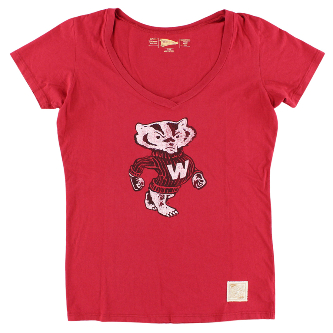 Distant Replays Womens Wisconsin Badgers College Deep V Neck T Shirt Red