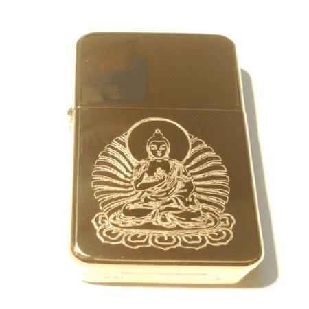 Vector KGM Thunderbird Custom Lighter - Buddhism Reilgion Symbol Lord GOD Jade Buddha on Lotus Flower Statue Logo High Polish Gold Brass