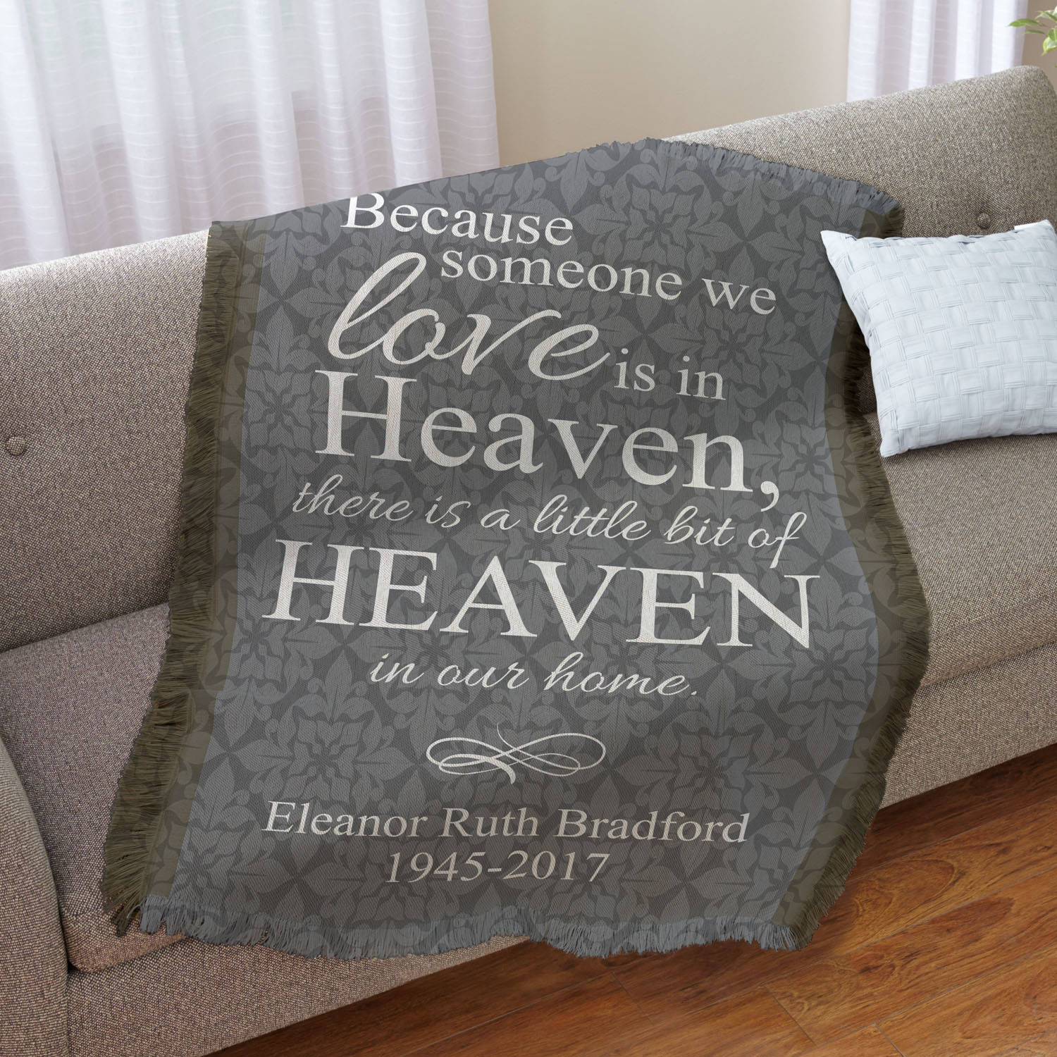 Personalized For Loved Ones in Heaven Throw