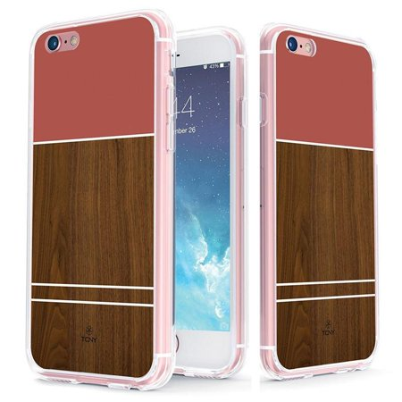 iPhone 6s Plus Geometric Case - True Color Clear-Shield Rosewood & Pink Effect Printed on Clear Back - Soft and Hard Thin Shock Absorbing Dustproof Full Protection Bumper Cover