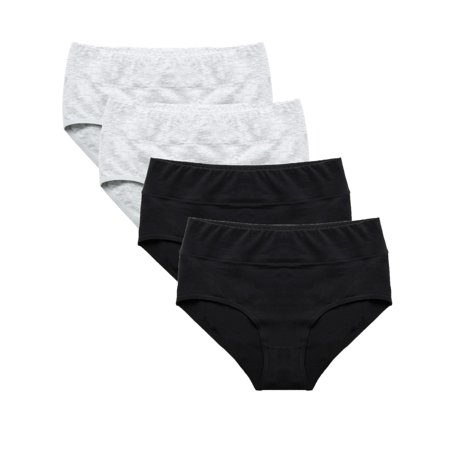 Set of 4 Briefs Ladies Mid Rise Underwear Seamless Hipster Panties, Womens Underwear Soft Stretch Cotton Brief Microfiber Stretch Hipster Panty