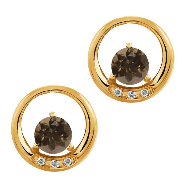 0.96 Ct Round Brown Smoky Quartz and White Topaz 14k Yellow Gold Earrings