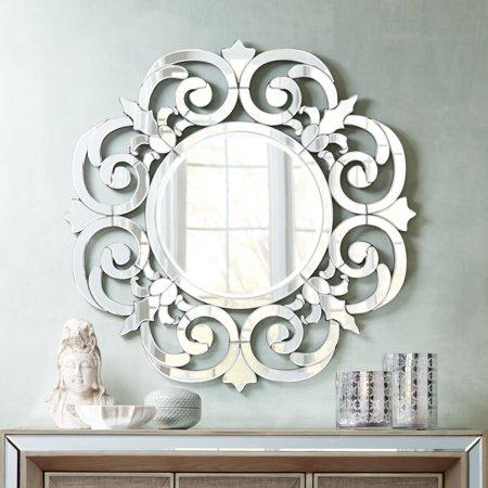 """Noble Park Calla Mirrored Filigree Edge 36 1/4"""" Round Wall Mirror"""