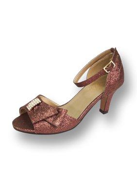 FLORAL Elisa Women's Wide Width Evening Dress Shoes for Wedding, Prom, & Dinner BLACK 7