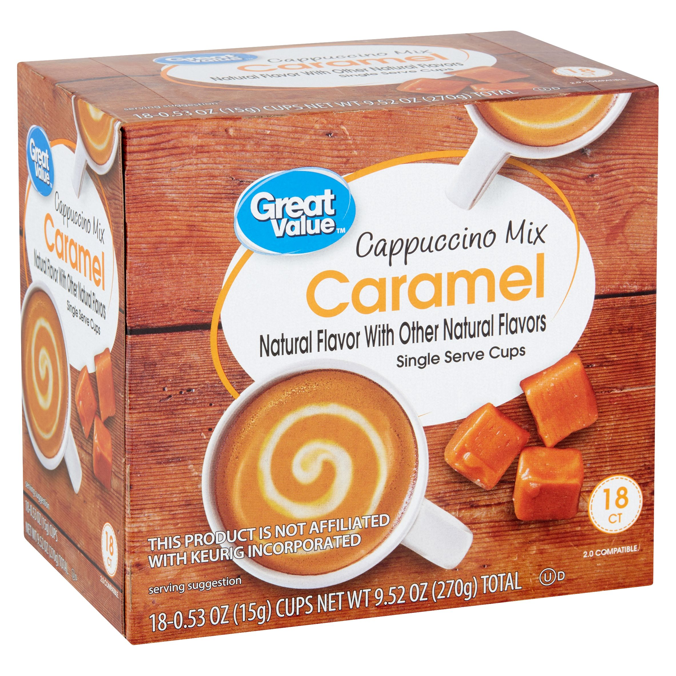 Great Value Caramel Cappuccino Mix Coffee Pods, Medium Roast, 18 Count