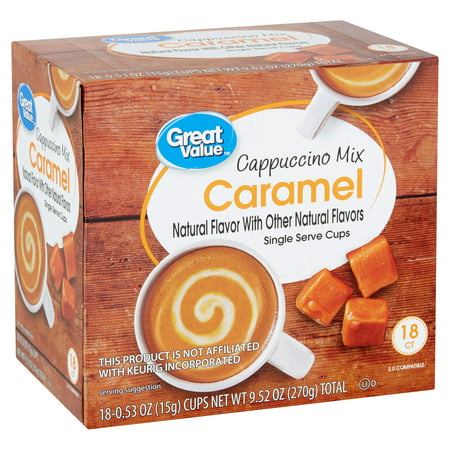 Great Value Caramel Cappuccino Mix Coffee Pods, Medium Roast, 18 - Style Cappuccino Cups