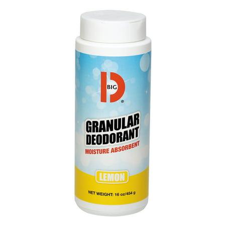 Big D Industries Granular Deodorant, Lemon, 16oz, Shaker Can, 12/Carton