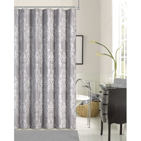 Floral Damask Cotton Blend Fabric Shower Curtain Liner