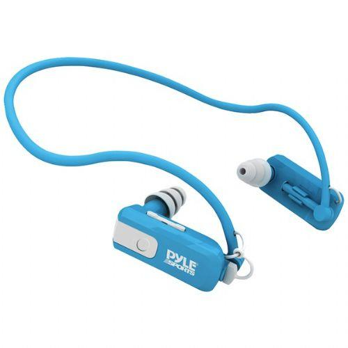 Pyle Sports  Blue Rechargeable Waterproof Neckband Headphones with Built-In 4GB MP3 Player
