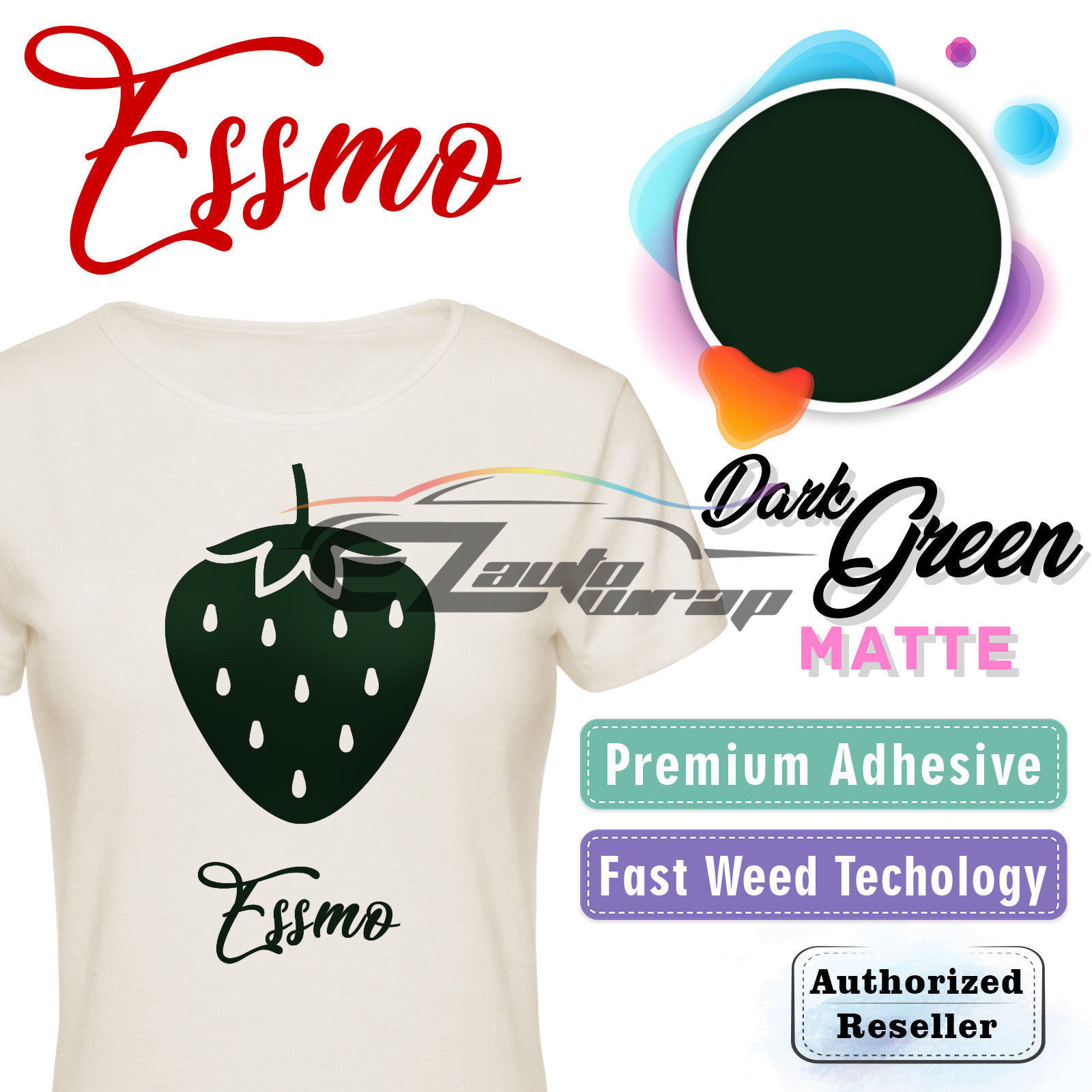 "ESSMO Dark Green Matte Solid Heat Transfer Vinyl HTV Sheet T-Shirt 20"" Wide Iron On Heat Press 20""x12"""
