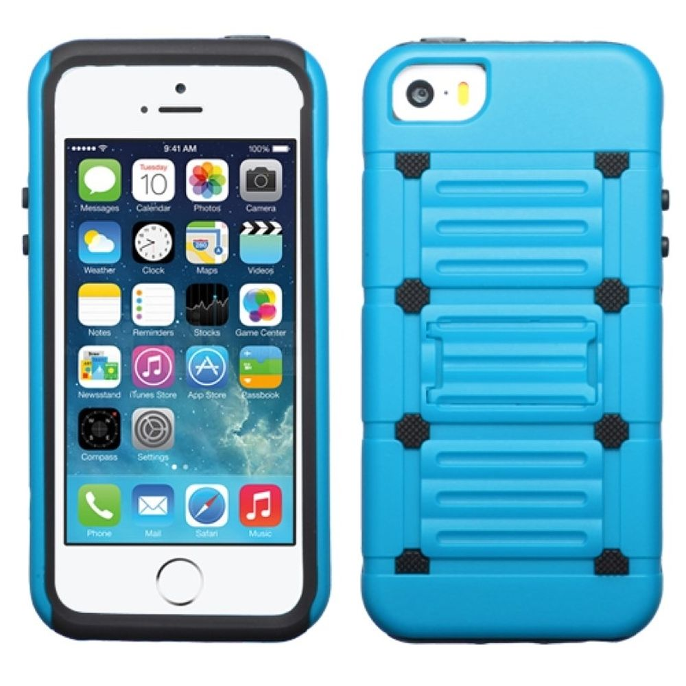 Insten Hard Dual Layer Rubberized Silicone Cover Case w/stand For Apple iPhone 5/5S/SE - Black