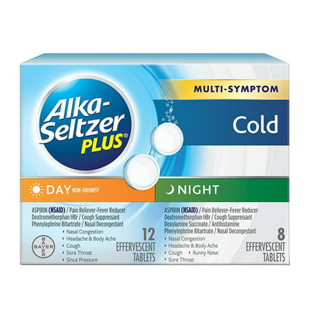 Alka-Seltzer Plus Day And Night Time Cold Relief Tablets - 20 Effervescent