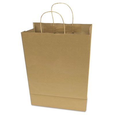 Premium Large Brown Paper Shopping Bag, 50/Box, Sold as 1 Box, 50 Each per Box - Large Paper Bags